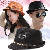 欧美英伦风皮质带扣方块铆钉礼帽男女春秋冬季凤凰图案印花爵士帽