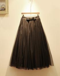 2020春秋冬季新款复古中长款纱裙半身裙子高腰显瘦蓬蓬裙长裙仙女