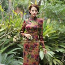 玫娅娣女士精品春秋新款女装复古真丝香云纱长袖传统短长旗袍玫瑰