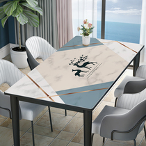 (Silicone table mat) marble-print waterproof and oil-proof anti-hot wash-free Nordic home TV cabinet coffee table cloth