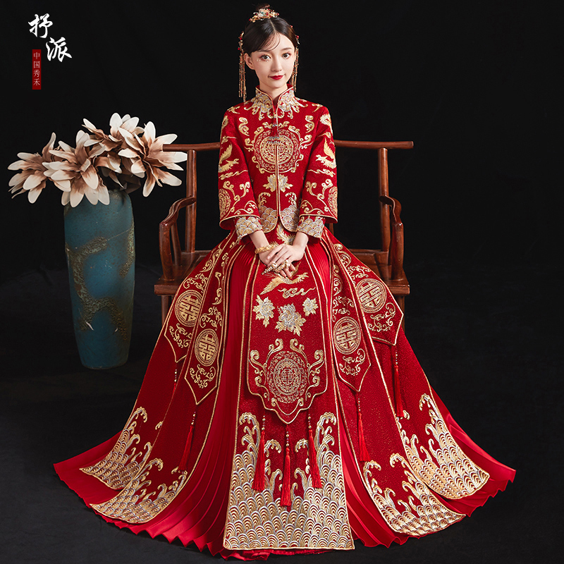 Show clothes 2020 new wedding bride female Chinese wedding dress Dragon Phoenix hanging 2020 show and dress wedding dress winter