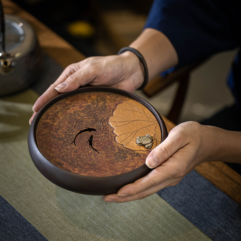 Hummingbird Workshop purple sand tea plate large pot chinese round copper tea plate ancient pure hand-dried brewing pot plate