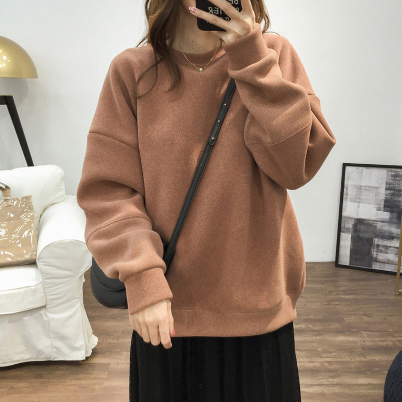 2020 Korean version plus thick hair round collar head thick cotton T women wear autumn and winter round collar casual loose imitation material