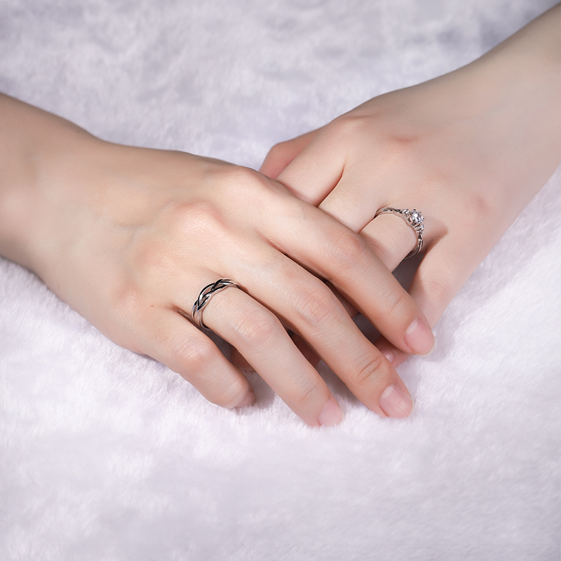 Pure silver ring couple S925 men and women a pair of simple light luxury original opening can adjust the niche design ring