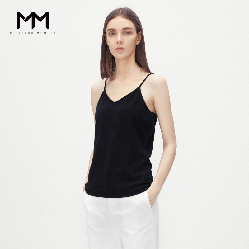 Shopping malls with the same MM wheat lemon spring and autumn new simple V-neck vest sling cashmere sweater women 5188325121