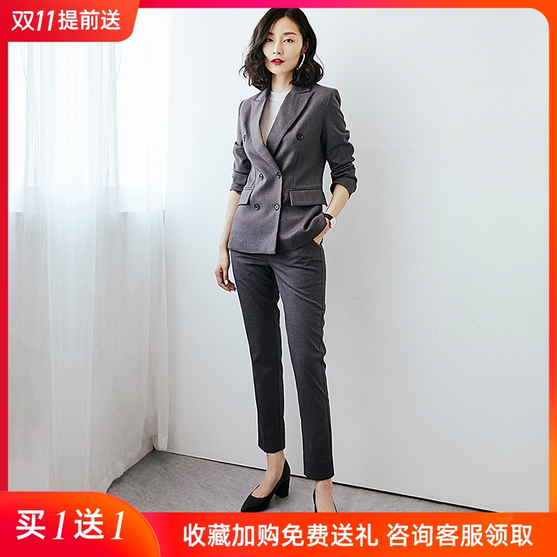 Professional suit womens 2020 autumn winter new double-row button-down suit high-end womens suit big-name fashion temperament dress