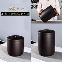 Yixing purple sand tea can large handmade seven-child cake Puer storage tea can ceramic seal household moisture-proof tea tank