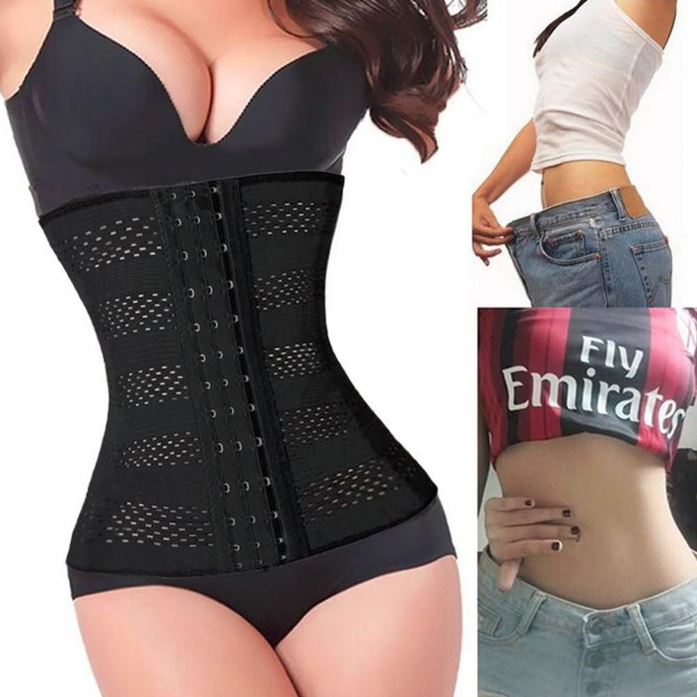 women body shaper latex waist trainer cincher underbust cors