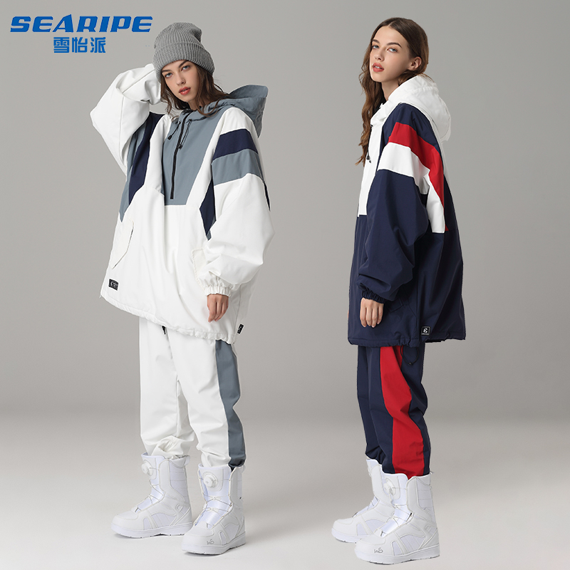 New mens and womens snowboarding suit hip-hop ha ha Lun wind waterproof windproof warm ski suit single snow suit