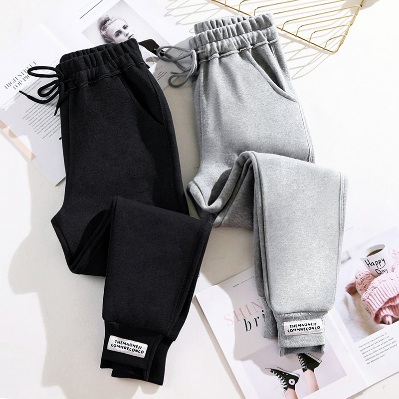 Sweatpants womens pants loose autumn winter 2020 new models show thin with Harlan pants plus velvet tie feet casual thick cotton pants