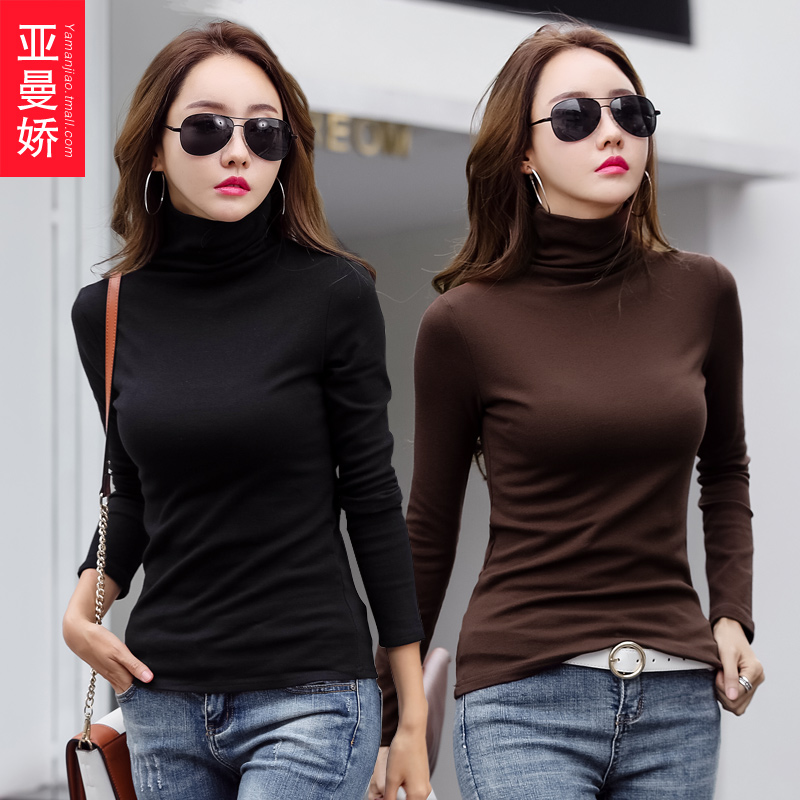 2 pieces of 59 yuan) undershirt womens high collar with tight clothes 2020 autumn winter new cotton long-sleeved T-shirt tide