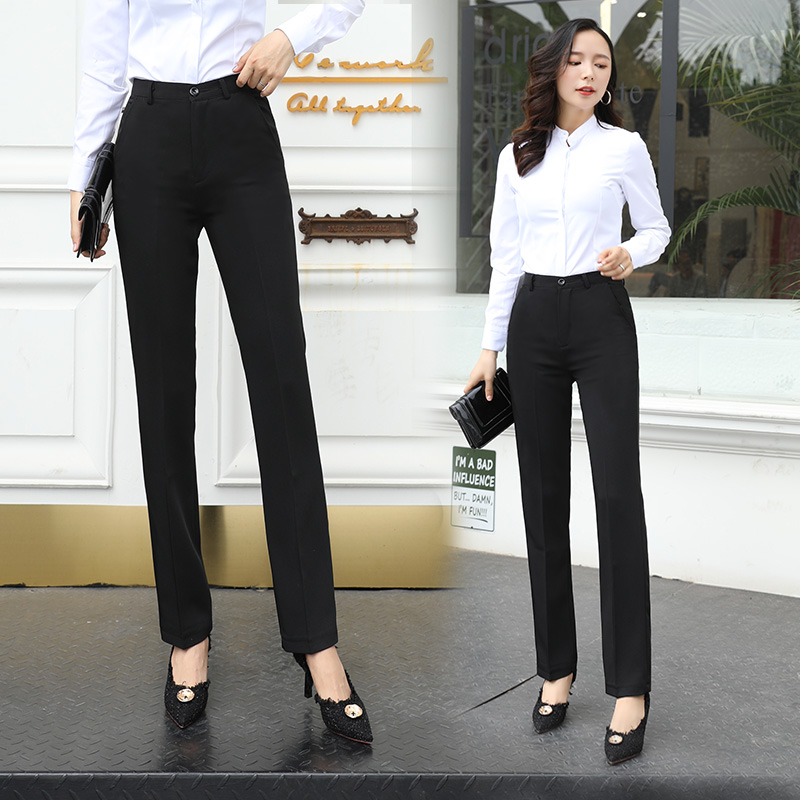 Hanging black work high waist thin professional straight barrel is dressed as a small man suit pants womens autumn and winter trousers