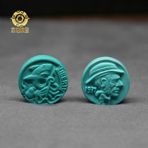 Yiboyuan ore turquoise high porcelain blue high-color jade jelly hand-carved stray coins lovely personality jewelry