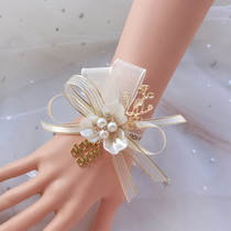 Bridesmaid wrist flower sister hand flower bride Sen Xiaoqing wedding bracelet flower Korean-style European-style super fairy jewelry
