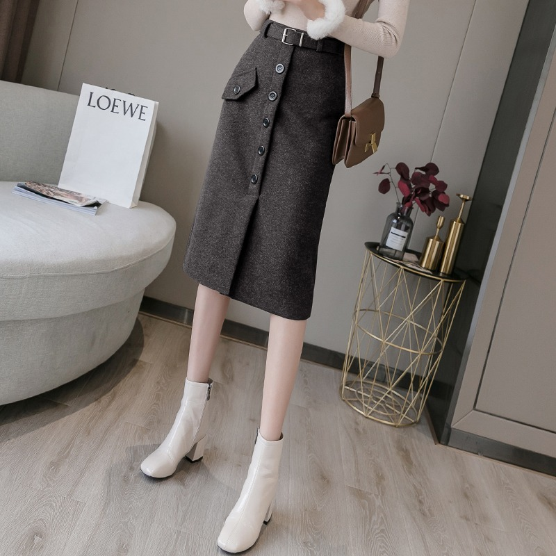 Mao skirt women autumn and winter hundred with a word high waist bag hip step skirt in the long version of the fork thickened skirt