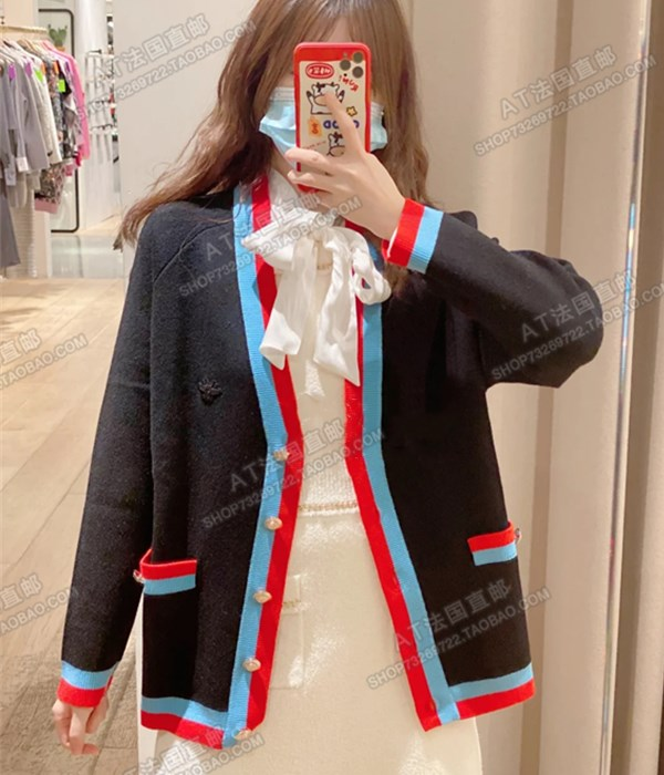 maje 21 spring summer college wind V collar bump color side knitted cardigan coat female MFPCA00181