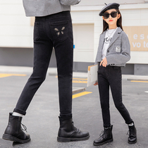 Girls black jeans autumn dress plus velvet childrens autumn and winter pants girls in the big boy Yangpai spring and autumn small foot pants