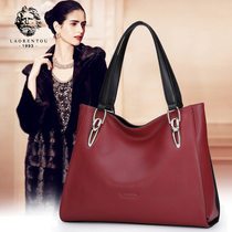 Old leather ladies fashion casual tote bag