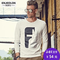 Fall men's British Grand lunmodaier cotton prints round neck long sleeve t shirt youth shirts at the end of t wave
