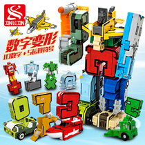 Digital deformation toy diamond puzzle robot boy full children's Day gift letter variant ABC
