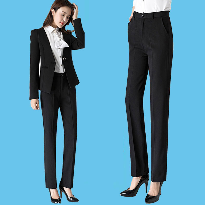 Suit pants autumn and winter black straight pants to work professional thin straight work pants work clothes high waist thick pants women