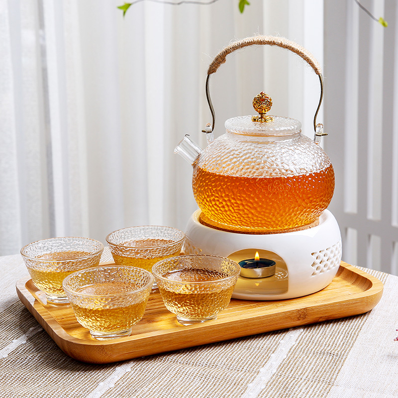 Casual afternoon tea European candle heated tea stove heat-resistant glass tea maker light luxury fruit flower teapot set