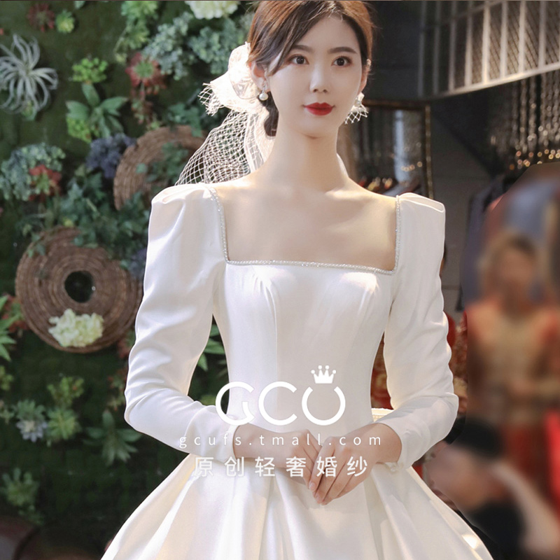 (Tao made of clouds) a word shoulder long-sleeve satin wedding dress 2020 new tail temperament simple small bride