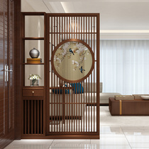 New Chinese-style partition screen living room solid wood into the door entrance xuanguan partition shelf partition cabinet Chinese wood screen