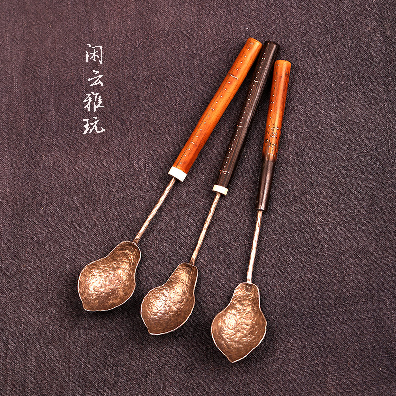 Idle Yunya play popularity of new products like the old scale桿 pure silver pure handmade personality tea ceremony teaspoon teaspoon spoon