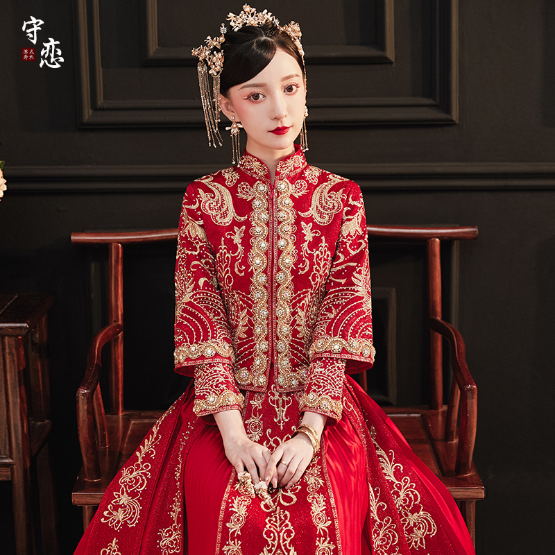 Showwear 2020 new wedding dress bride toast chinese wedding dress pregnant woman show and dress red show dress