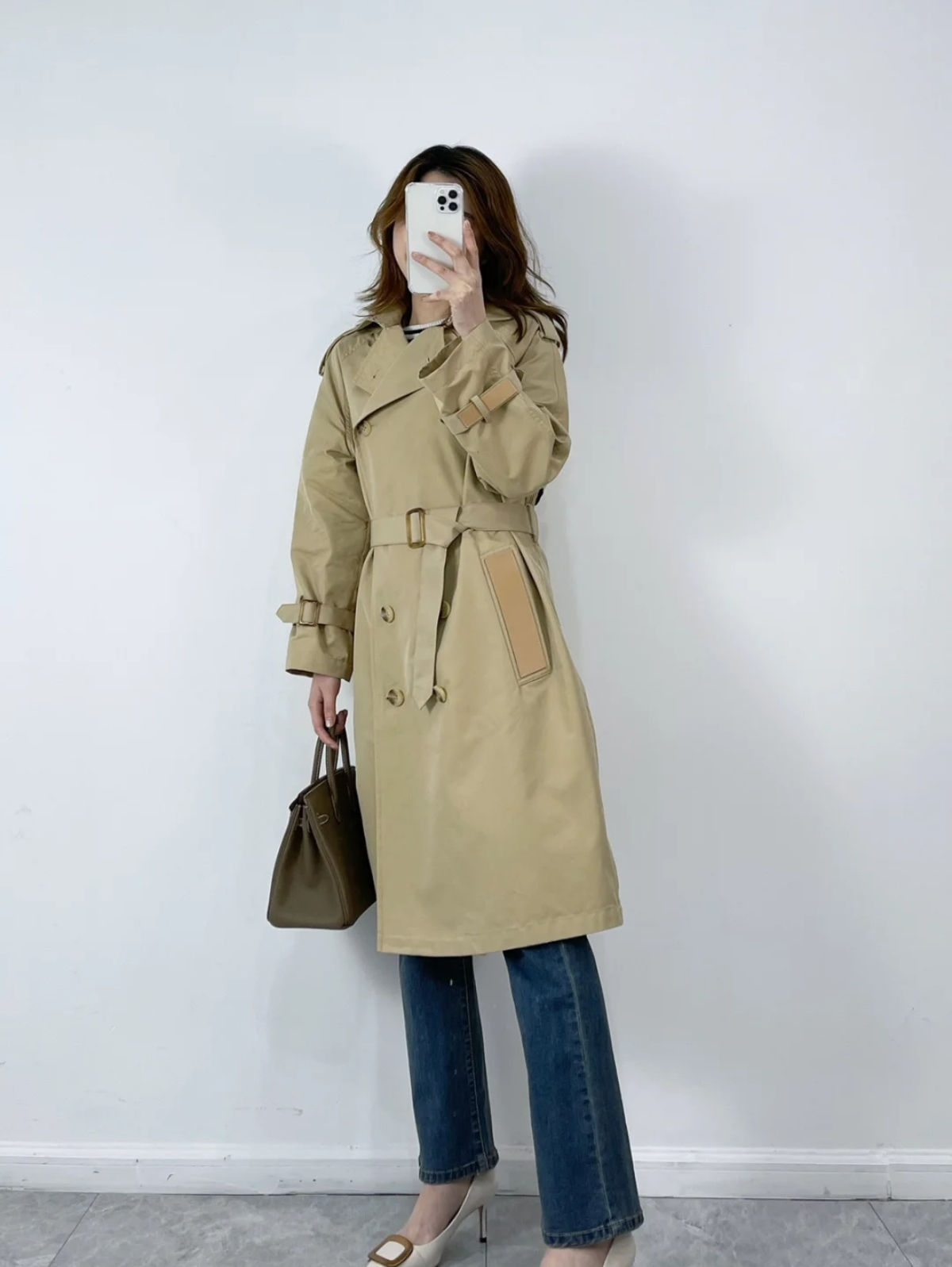 MAJE windshield 21 spring summer fall shoulder sleeve double 繫 strap loose waist jacket female MFPOU00546