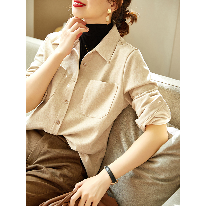 Thickened burred shirt womens autumn winter model 2020 new Diofu stacked with long-sleeved inner shirt jacket