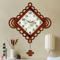 china wind new chinese wall clock living room creative solid wood clock knot home atmosphere art