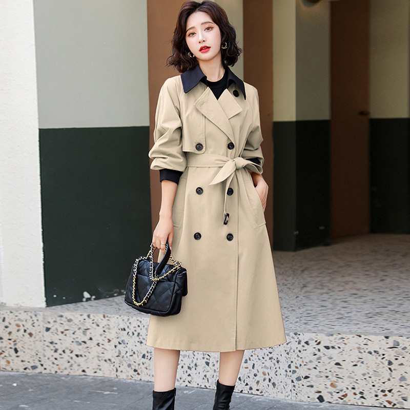 European station windshield womens knee-length version of the fall 2020 new fashion casual waist temperament jacket