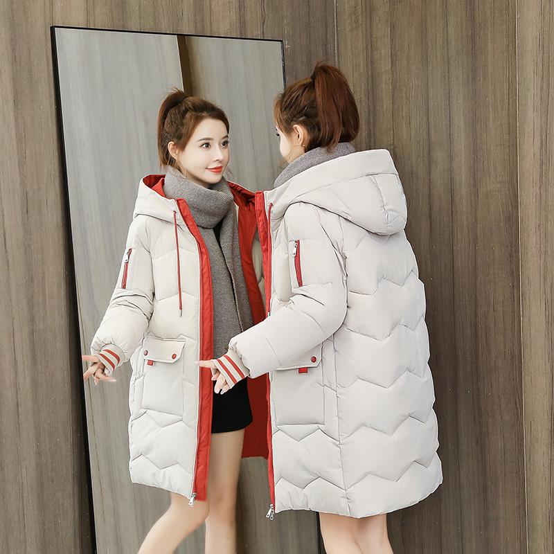 Hooded down cotton dress womens middle-length version of the Korean version loose 2020 autumn winter new thickened bread jacket