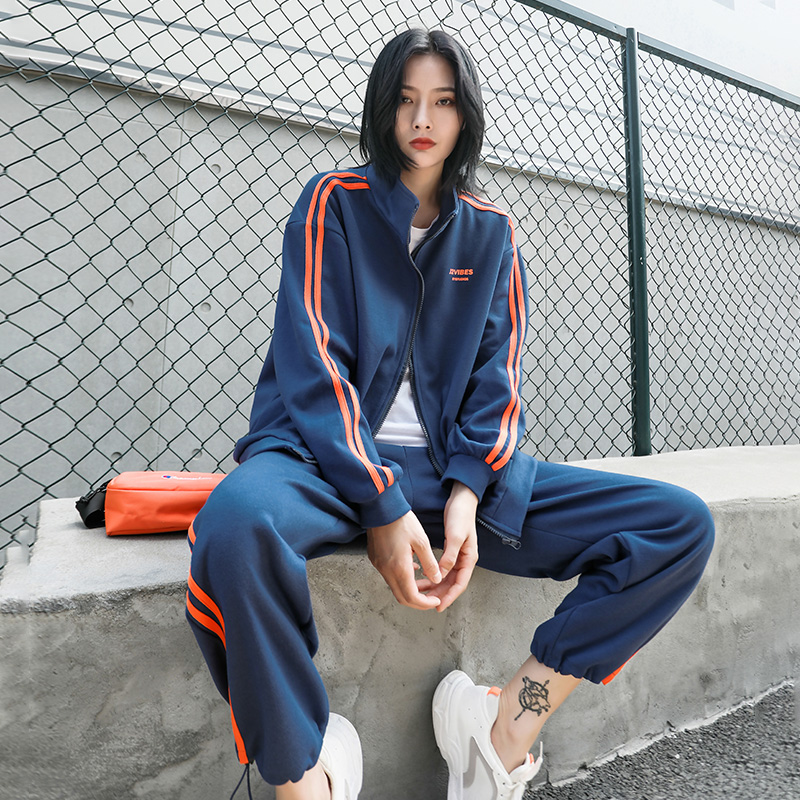 2020 Spring Autumn Yugu leisure sportswear suit womens Hong Kong style loose Korean version of the tide brand fashion street shoot two-piece set