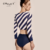 Circleswim swimsuit 2020 new womens striped two-piece long-sleeved sexy surf wetsuit conservative ins wind