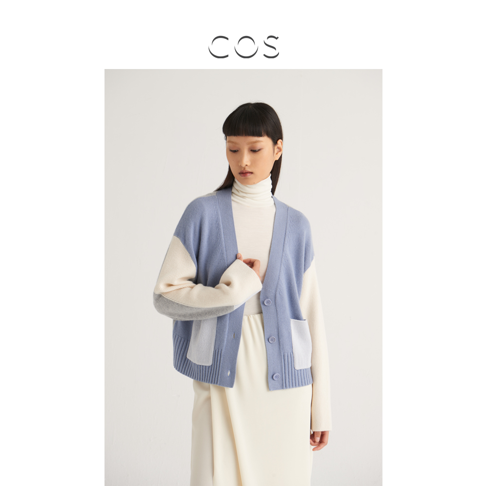 COS womens large profile cashmere Morandi color cardigan light blue multi-color autumn new product 0934476001