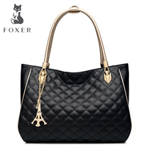 Fox ladies fashion leather handbag all-match Lingge