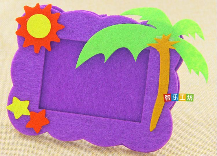 热卖无纺布相框贴画幼儿园美劳粘贴儿童布艺不织布手工diy制作材料包图片