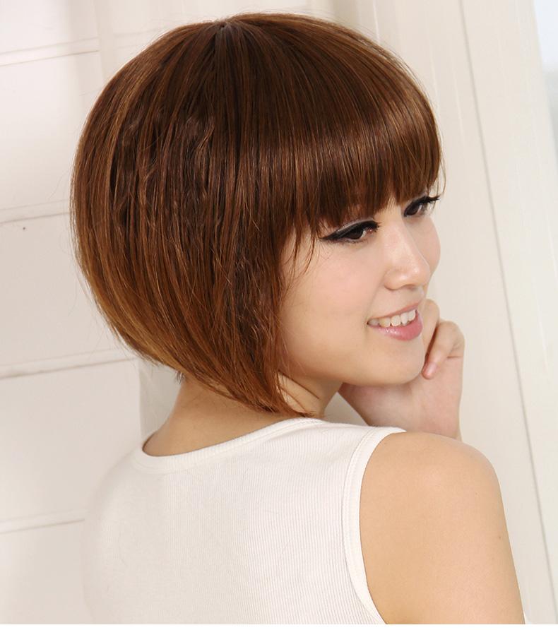 热卖恒发假发 玉米烫齐刘海蓬松 女生短卷头套修脸 时尚短发套女发型图片