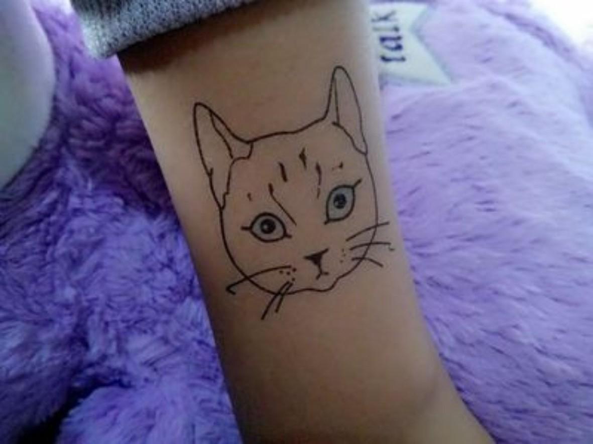 热卖快手王逗逗同款黑暗少女铁链鬼娃娃纹身花臂 猫咪k英文防水纹身贴