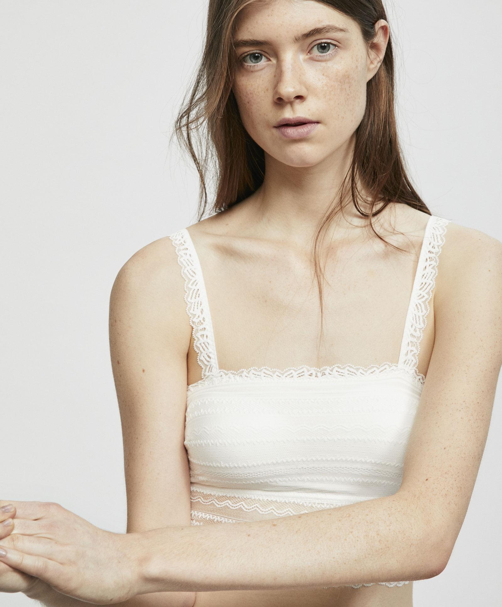 热卖oysho 白色蕾丝抹胸可拆式胸垫无钢圈防走光文胸薄款 30165502959