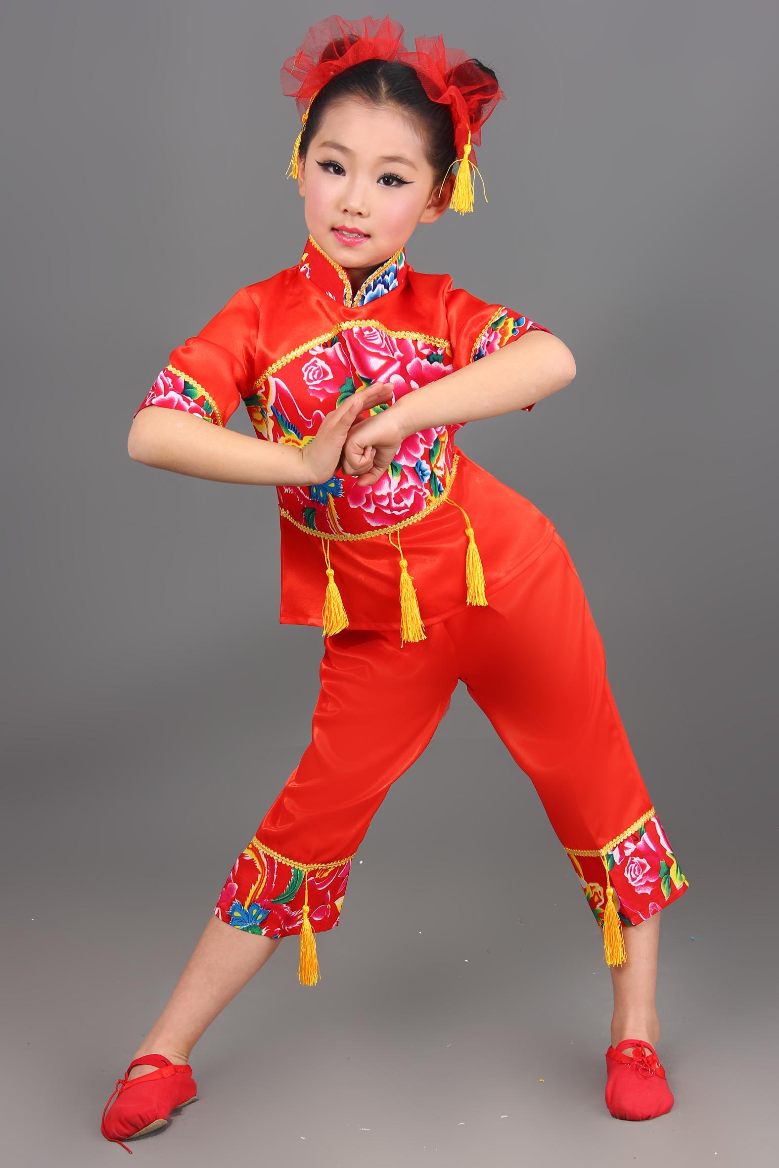 2018新款儿童演出服装元旦女童民族舞秧歌舞表演服装幼儿舞蹈服装图片