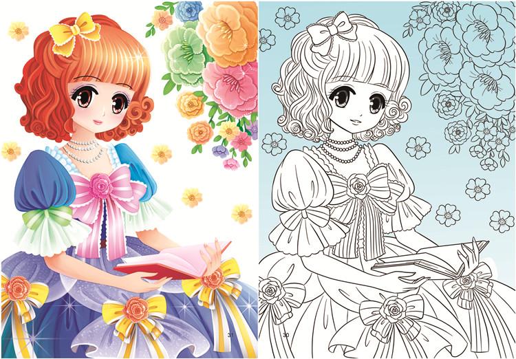 热卖公主涂色画3-6-8-12岁 画画美少女涂色 儿童填色本女孩绘画书包邮图片