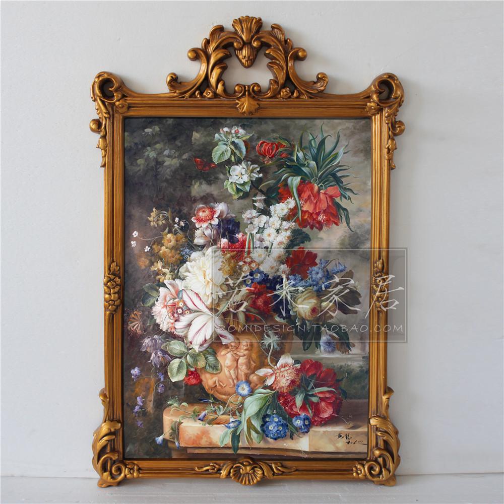 热卖73*106美法式装饰手绘油画复古餐厅玄关挂画古典花卉牡丹花壁炉画图片