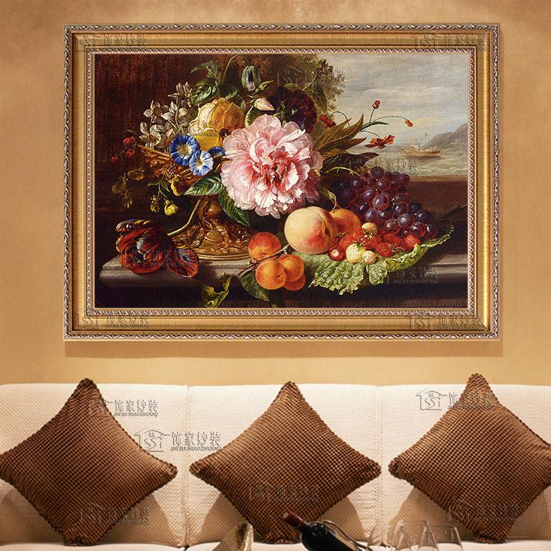 热卖欧式客厅餐厅玄关装饰画富贵牡丹花卉静物水果手工手绘油画dla110图片