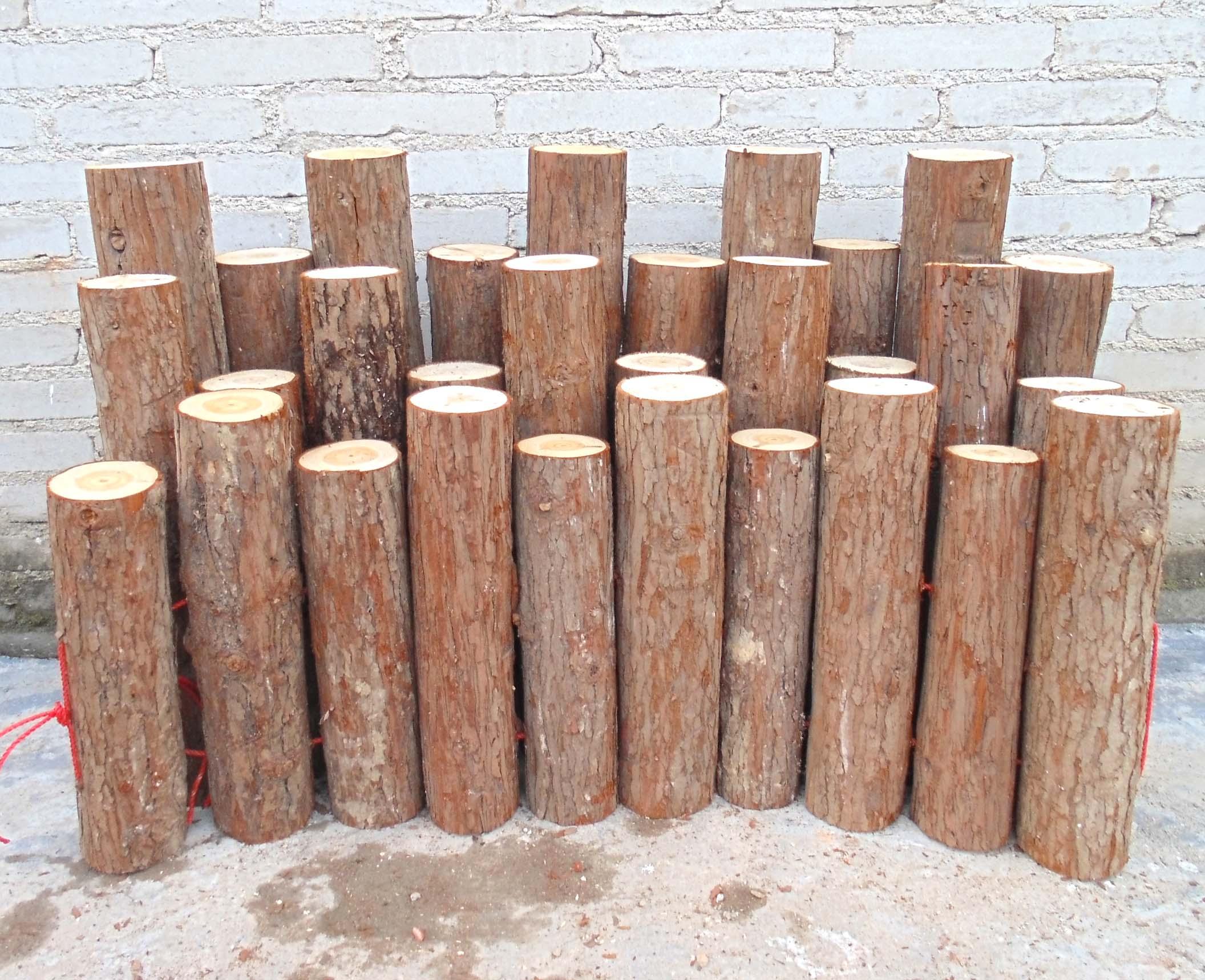 条带围栏皮树墩实木圆木庭院木桩篱笆童装装饰原木杉木果果木柱韩嘟栅栏护栏图片