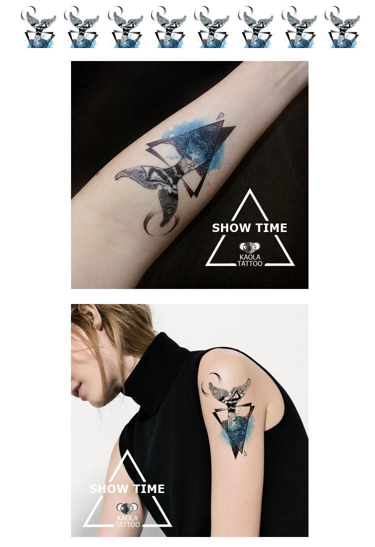 热卖kaola原创 海豚鲸鱼 大鱼海棠 鲸鱼尾纹身贴 防水脚踝手腕刺青贴