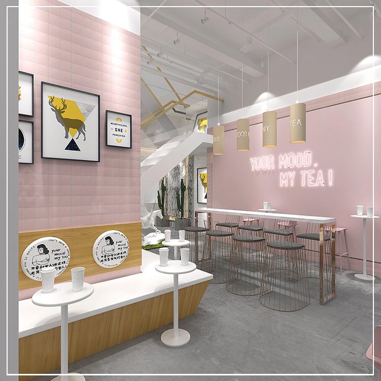 网红店ins冷淡风格甜品奶茶饮品店铺装修设计搭配门头图片